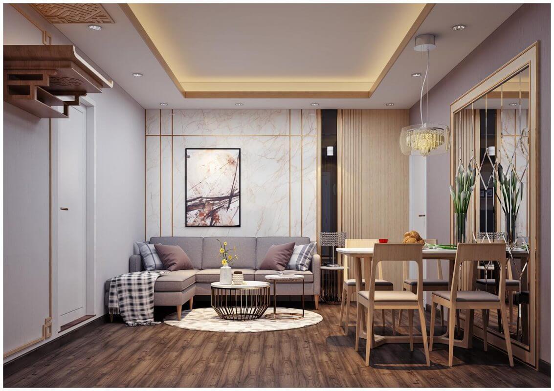 thiết kế phòng khách 20m2 đẹp chung cư