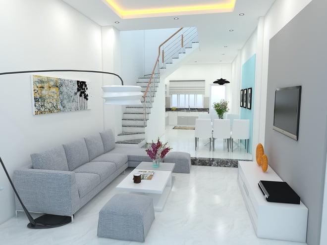 thiết kế phòng khách đẹp cho nhà ống 11