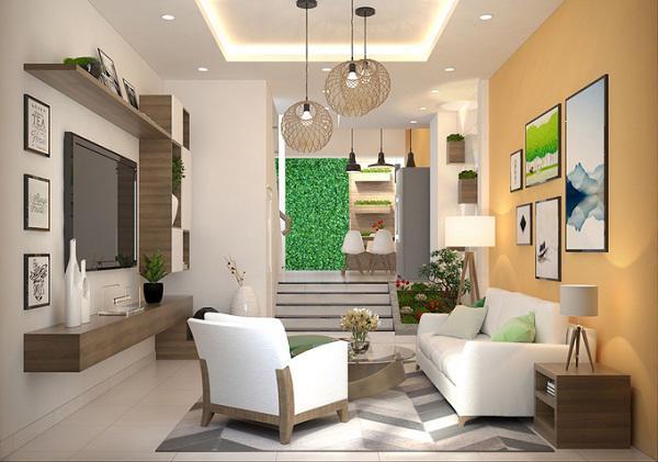 thiết kế phòng khách đẹp cho nhà ống 14