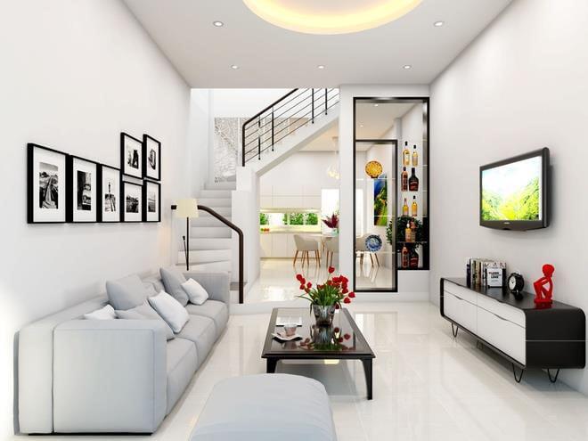 thiết kế phòng khách đẹp cho nhà ống 15