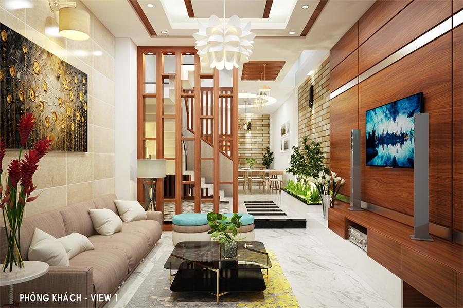 thiết kế phòng khách đẹp cho nhà ống 2