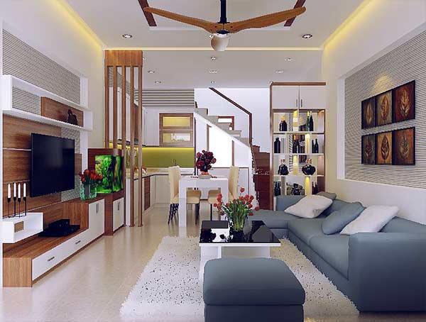 thiết kế phòng khách đẹp cho nhà ống 22