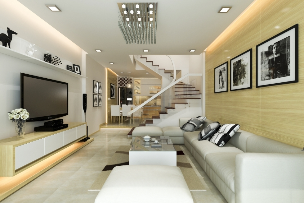thiết kế phòng khách đẹp cho nhà ống 7