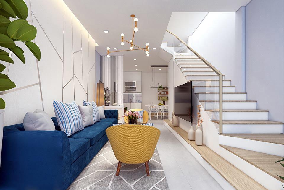 thiết kế phòng khách đẹp cho nhà ống 8
