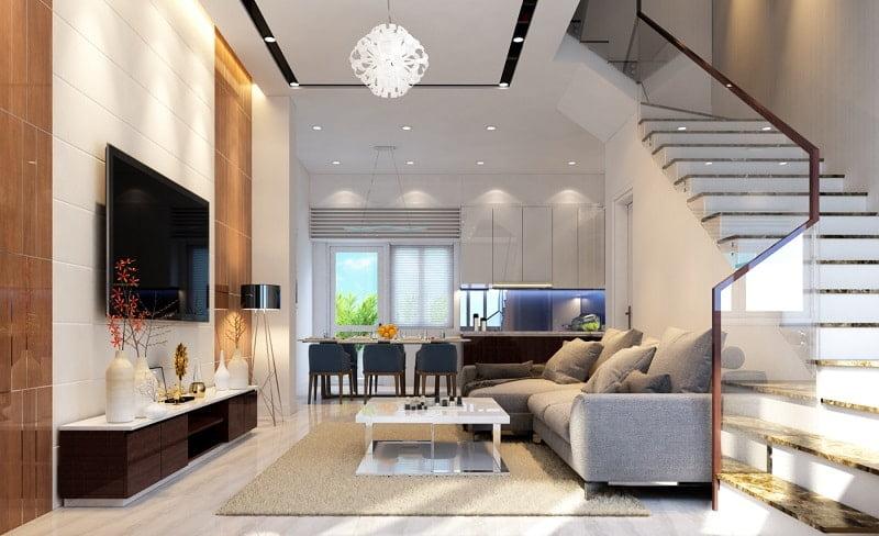 thiết kế phòng khách đẹp cho nhà ống 9