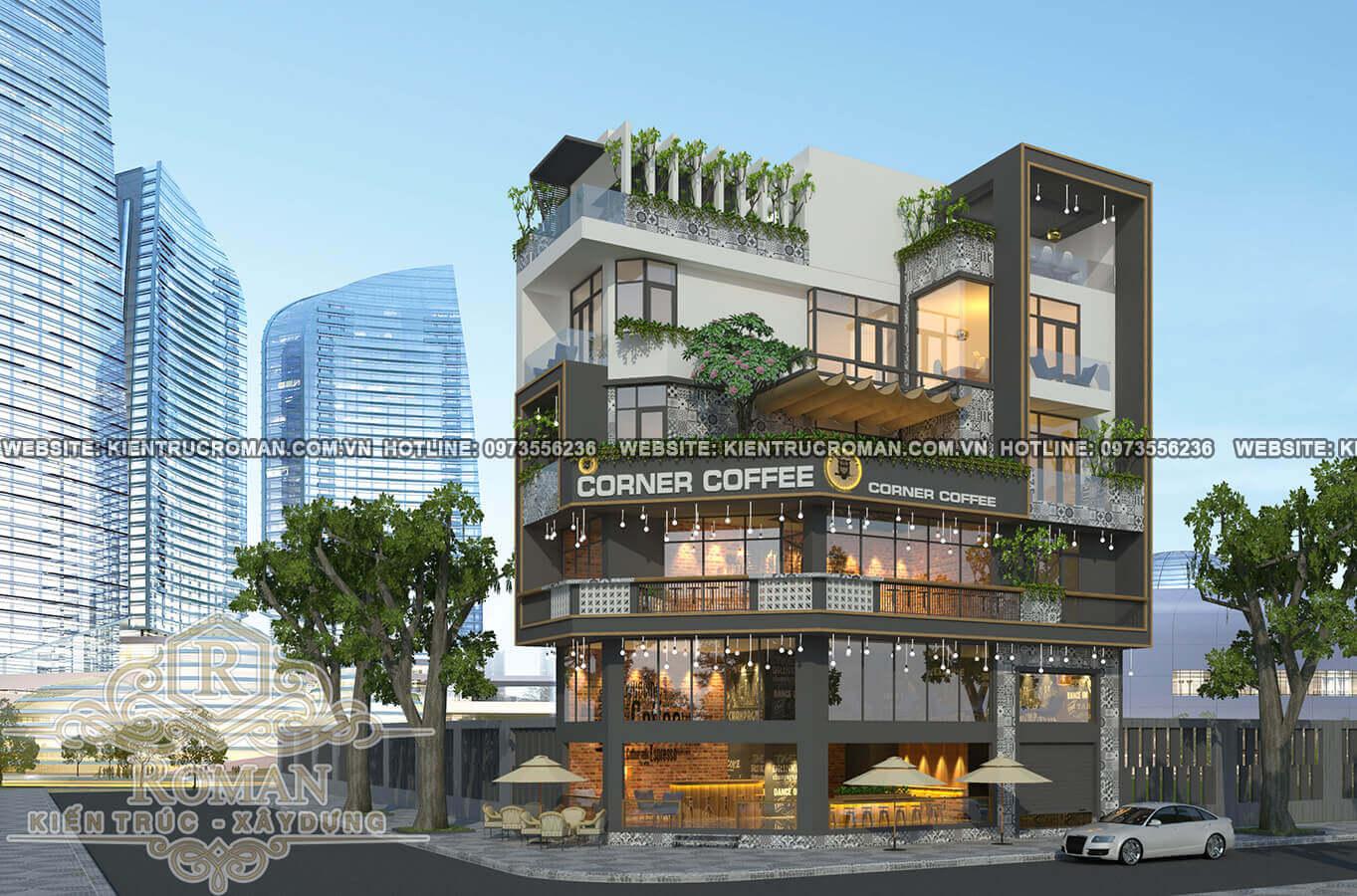 thiết kế quán cafe đẹp kết hợp với nhà ở