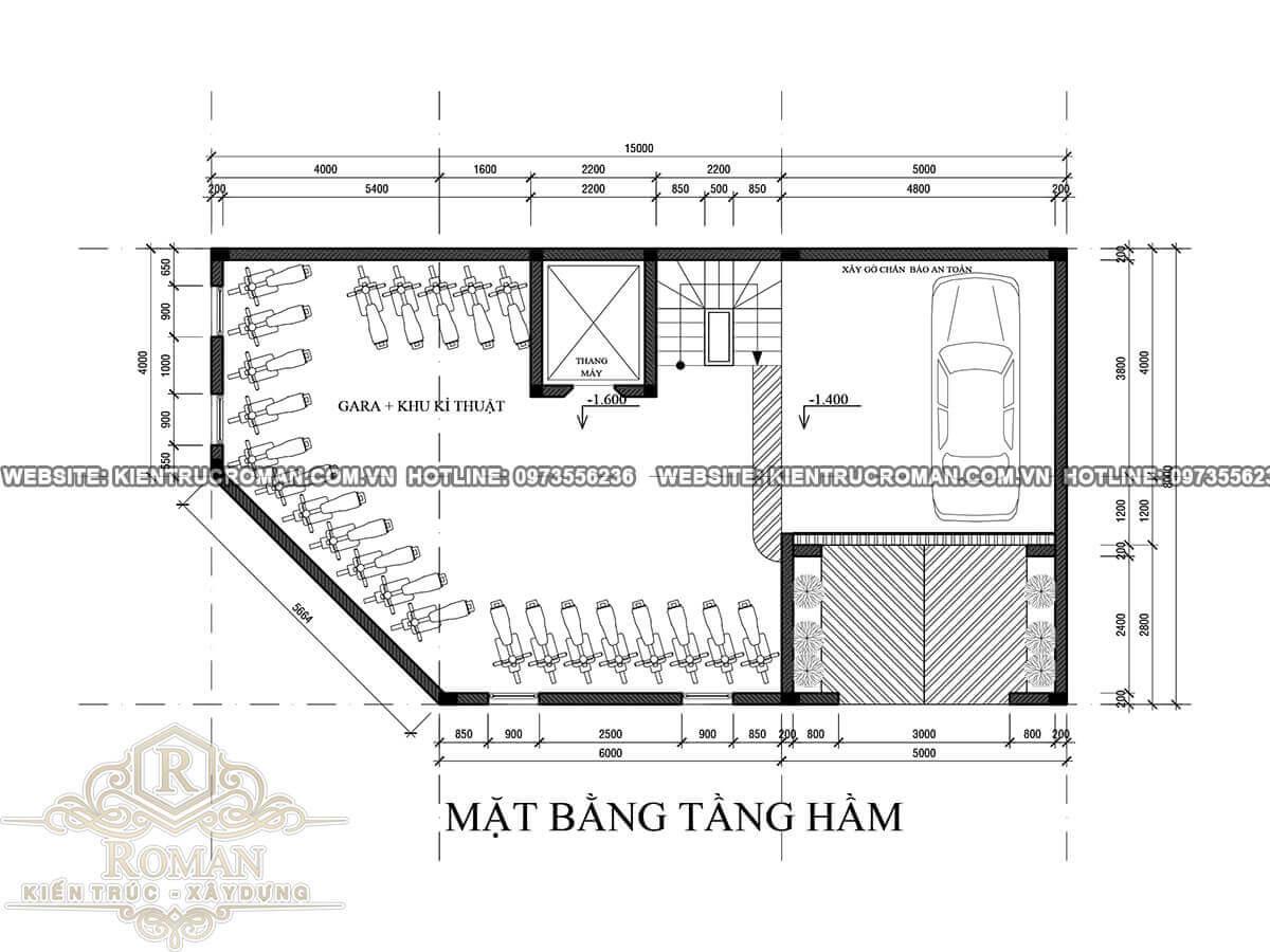 mặt bằng tầng hầm thiết kế quán cafe đẹp kết hợp với nhà ở