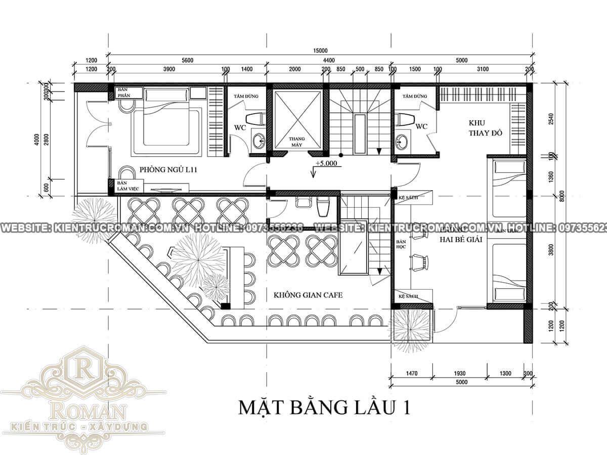 mặt bằng lầu 1 thiết kế quán cafe đẹp kết hợp với nhà ở