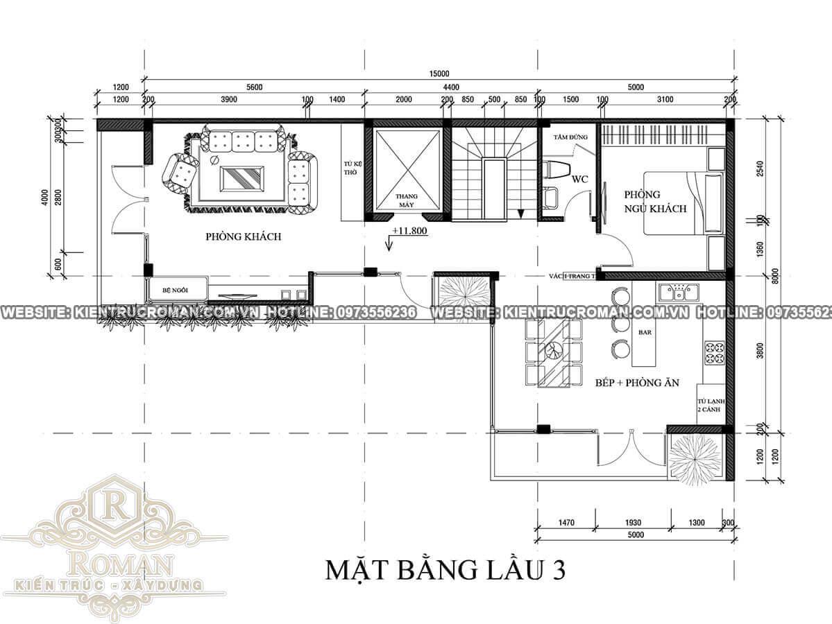 lầu 3 thiết kế quán cafe đẹp kết hợp với nhà ở