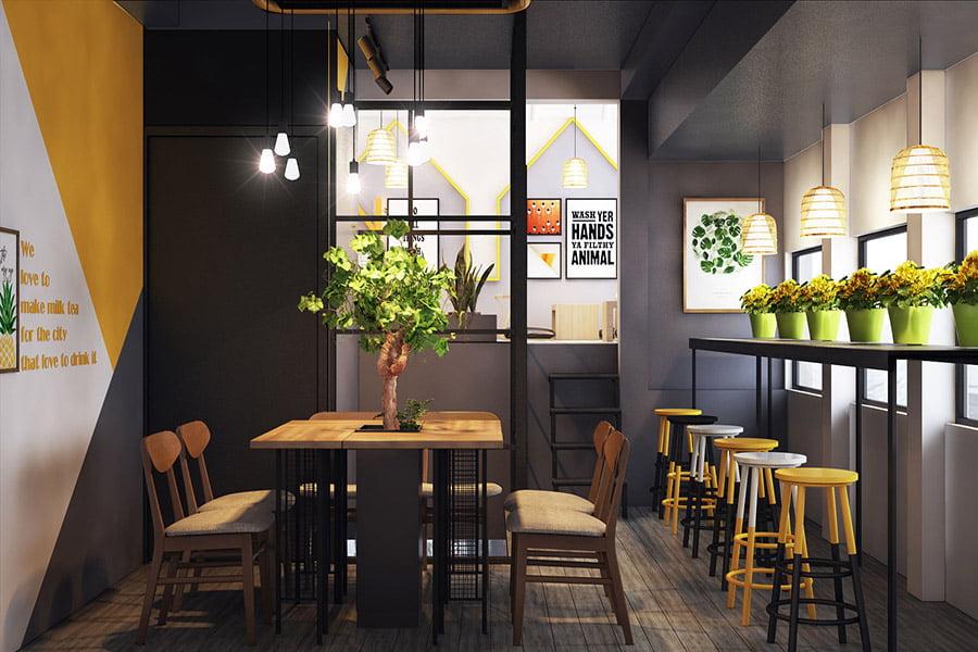 mẫu thiết kế quán cafe đơn giản thịnh hành hiện nay 2