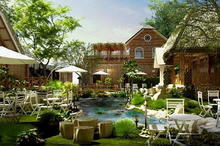 thiết kế quán cafe sân vườn đẹp 10