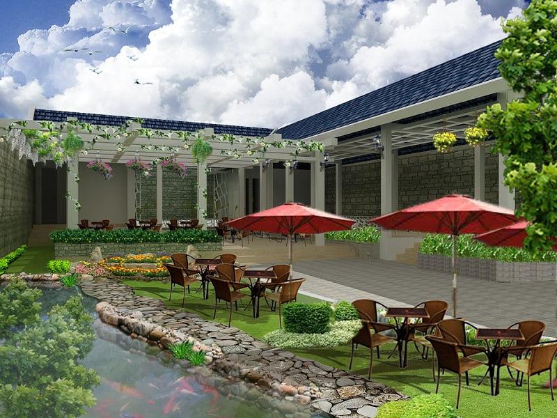 thiết kế quán cafe sân vườn đẹp 11