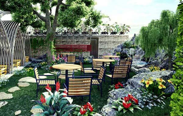 thiết kế quán cafe sân vườn diện tích nhỏ 2