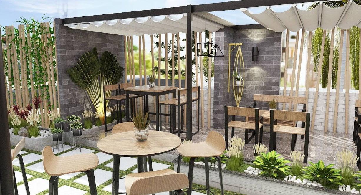 thiết kế quán cafe sân vườn diện tích nhỏ 10