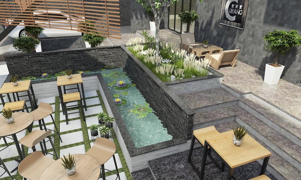thiết kế quán cafe sân vườn diện tích nhỏ 15