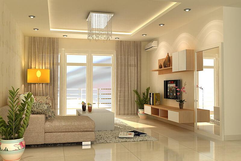trần thạch cao phòng khách đơn giản 9