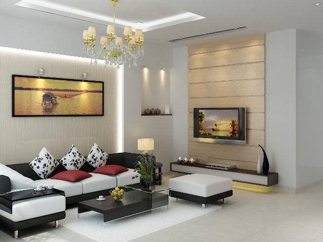 trần thạch cao phòng khách đơn giản 14