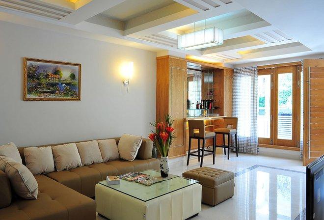 trần thạch cao phòng khách đơn giản 15