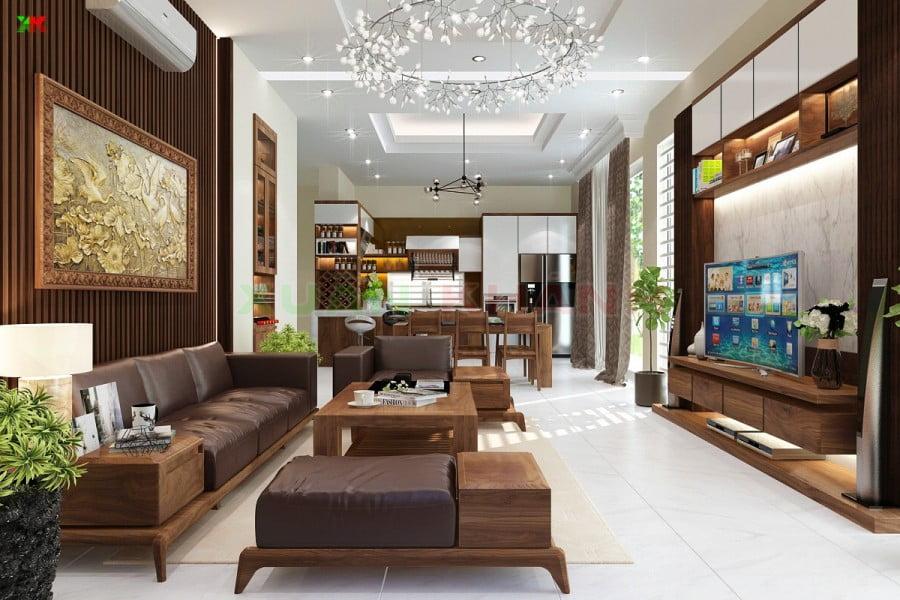 trần thạch cao phòng khách đơn giản 17