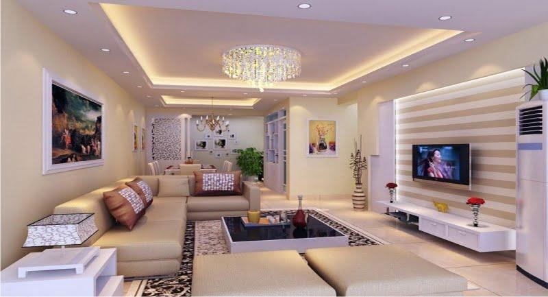 trần thạch cao phòng khách đơn giản 3