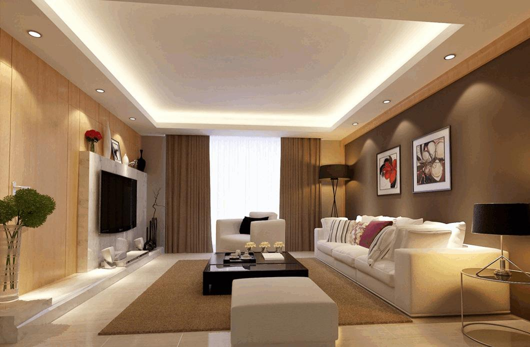 trần thạch cao phòng khách đơn giản 8