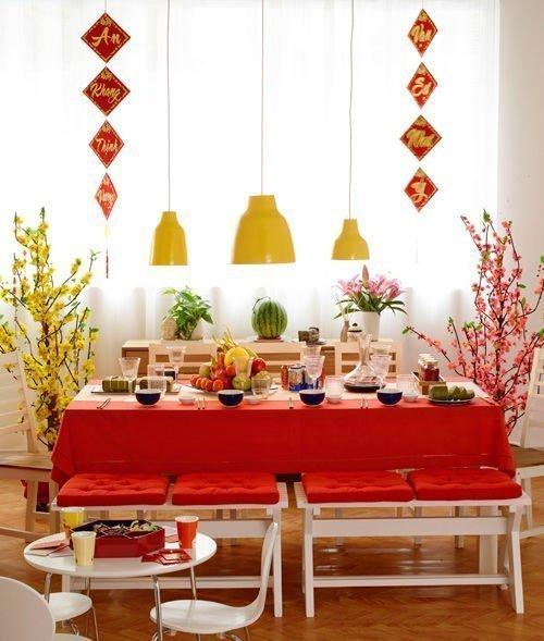 trang trí nhà đón tết bàn ăn
