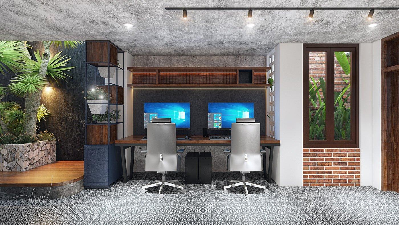 văn phòng kết hợp căn hộ bàn làm việc nhân viên