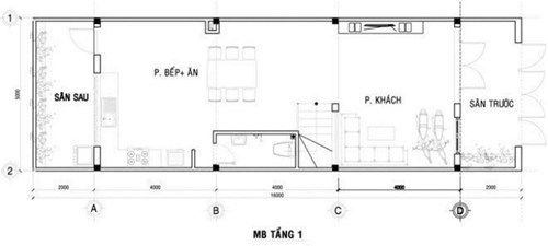 mặt bằng tầng trệt xây nhà ống 3 tầng phong cách hiện đại 1