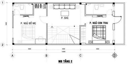 mặt bằng lầu 1 xây nhà ống 3 tầng phong cách hiện đại 2