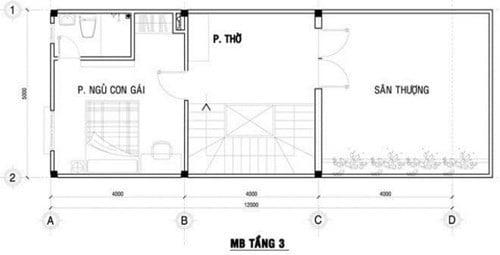 mặt bằng lầu 3 xây nhà ống 3 tầng phong cách hiện đại 3