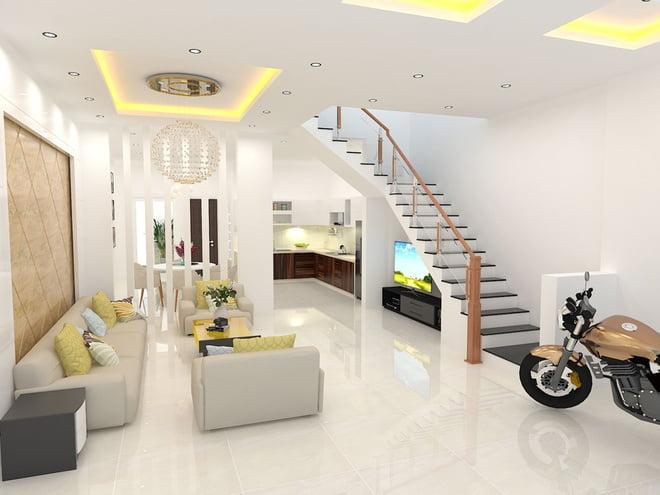 phòng khách thiết kế nhà ống 3 tầng