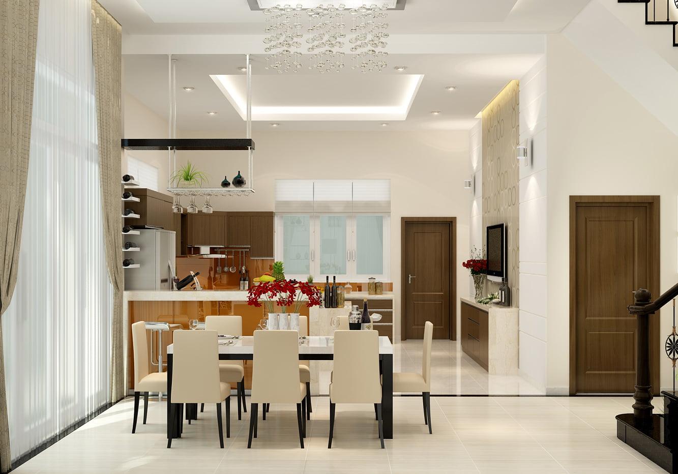 bếp và phòng ăn mẫu nhà ống 3 tầng
